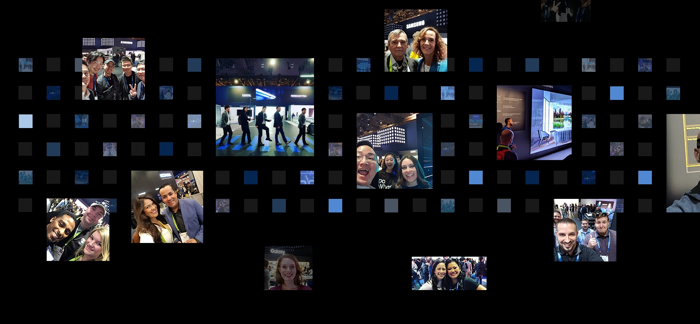 12 social media post photographs are displayed in front of a digital cube background from the 'Samsung City' theme at CES 2019.