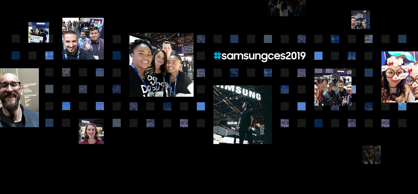11 social media post photographs are displayed in front of a digital cube background from the 'Samsung City' theme at CES 2019.