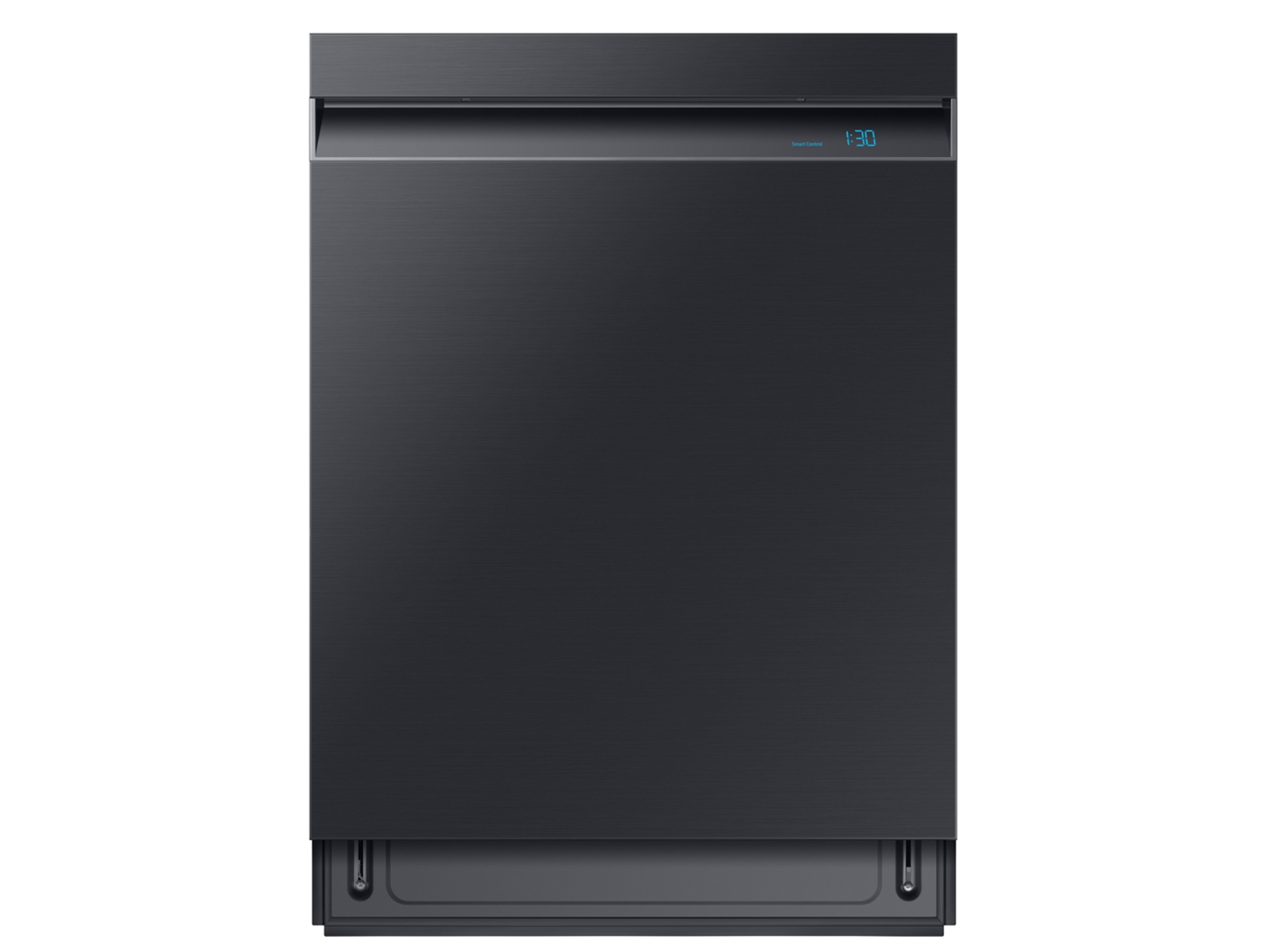 Family Hub™ 4-Door Flex™ Refrigerator + Flex Duo™ Slide-in Electric Range with Smart Dial & Air Fry + Linear Wash Dishwasher + Microwave in Black Stainless