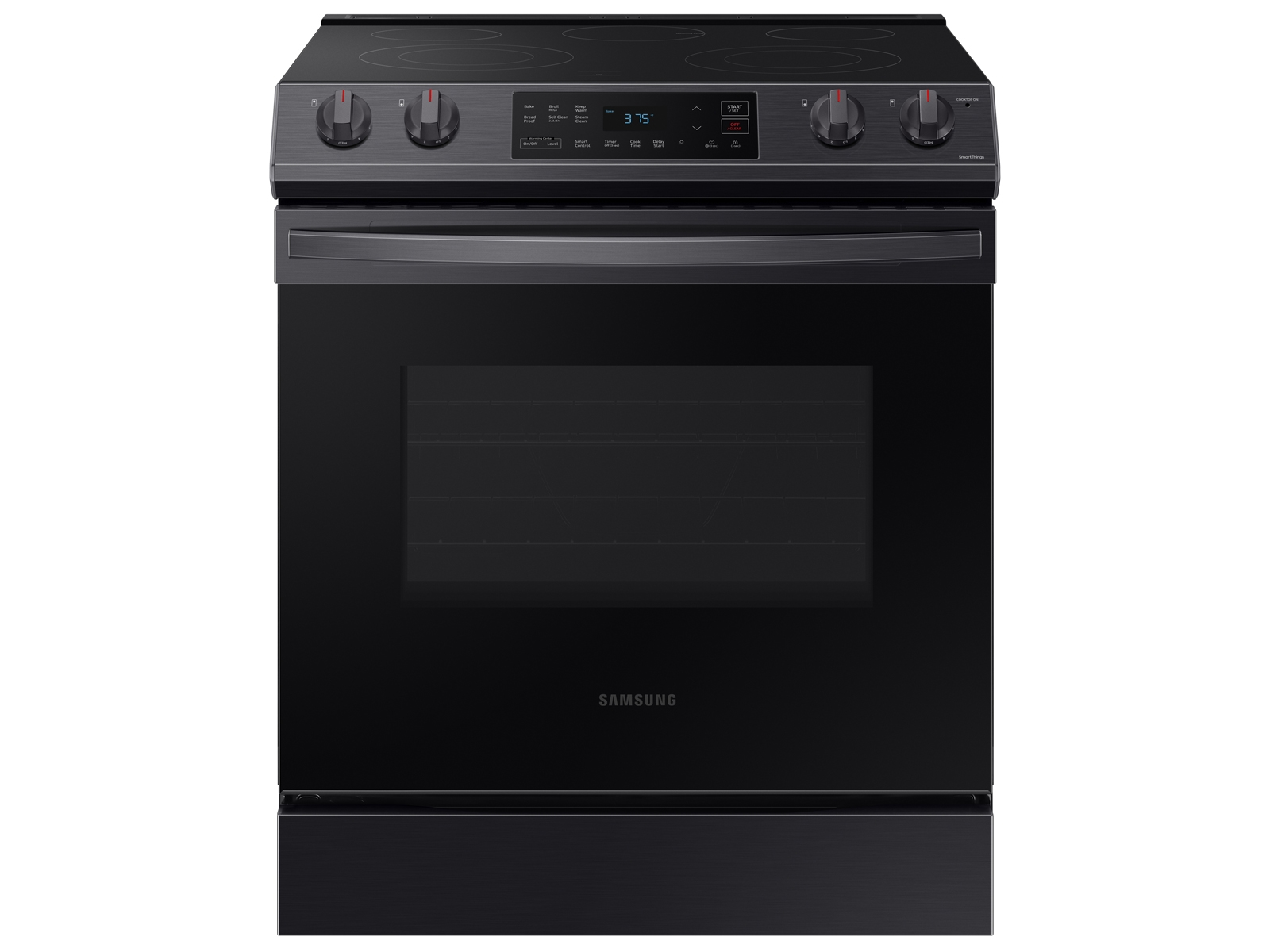 3-door Family Hub™ Refrigerator + Slide-in Electric Range with Wi-Fi +  StormWash™ Dishwasher + Microwave in Black Stainless