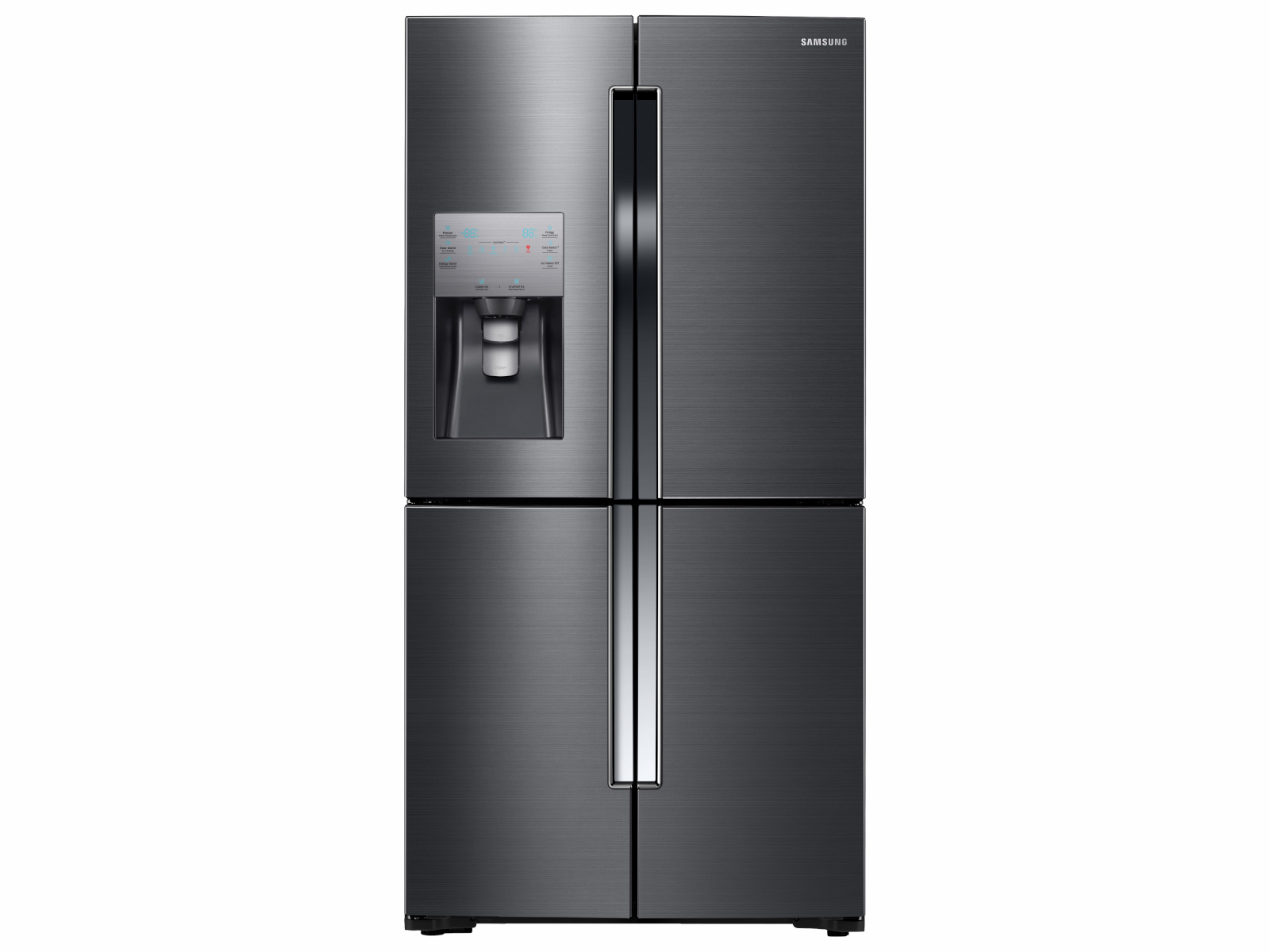 4-Door Flex™ Refrigerator + Slide-in Gas Range with Smart Dial & Air Fry + Dishwasher + Microwave in Black Stainless