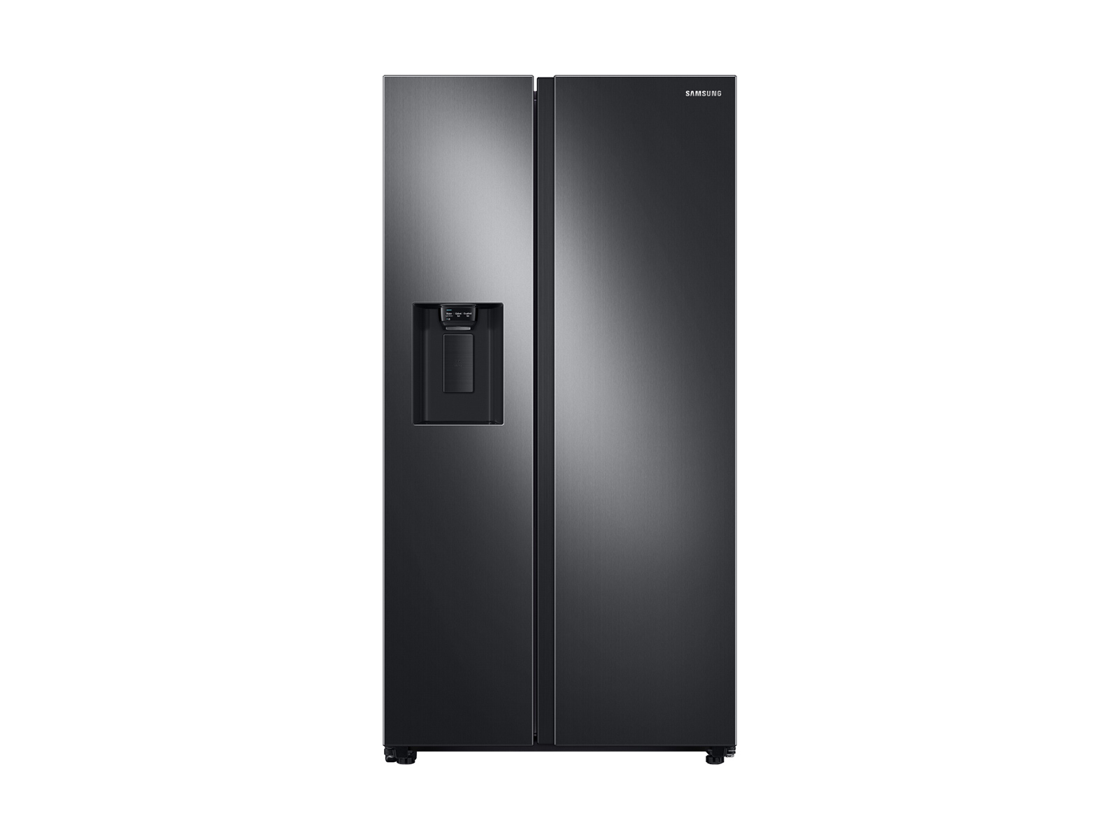 Large capacity Side-by-Side refrigerator & electric range package in black stainless