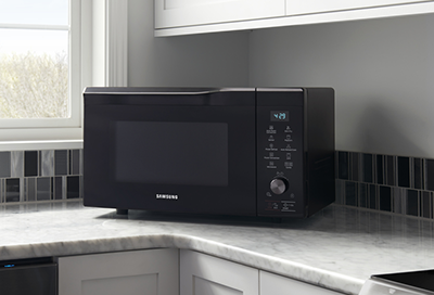 Samsung microwave sitting on a countertop
