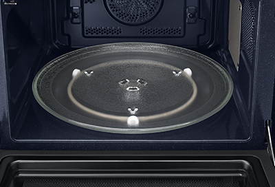Turntable inside of a Samsung microwave