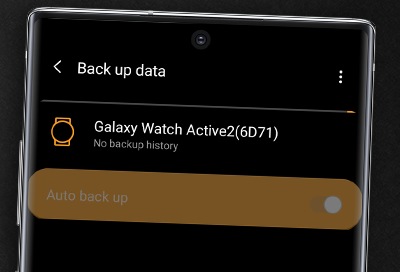 Back up data on Galaxy Watch Active2 with the Galaxy Wearable app