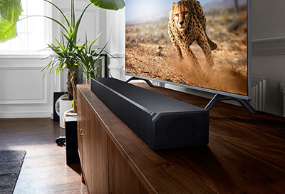 Soundbar in front of a TV with a cheetah on it