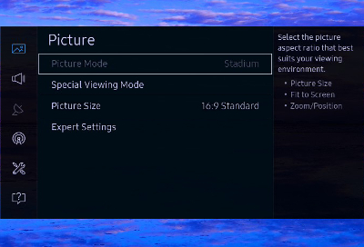 Picture menu on Samsung TV with Picture Mode option grayed out